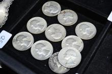 Lot 150: Lot Of 10 1964 U.S. Silver Washington Quarters