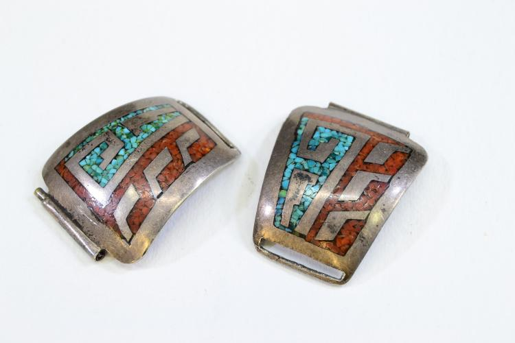 22.5 Gram Sterling Silver Inlaid Chip Coral And Turquoise Watch Tips Signed Tc