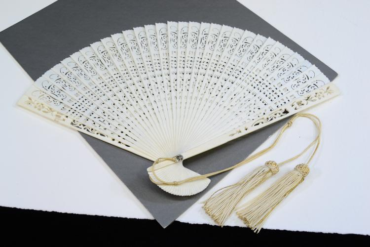 Chinese Hand-Carved Pierced Ivory Ornate Ladies Fan