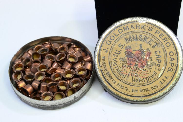 1933 Winchester Repeating Arms Co J Goldmarks U.S. Musket Percussion Caps In Tin