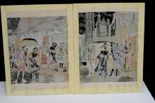Lot 162: Lot Of 2 Hand-Colored Woven Silk Stevengraphs By Neyret Freres After Alonso Perez