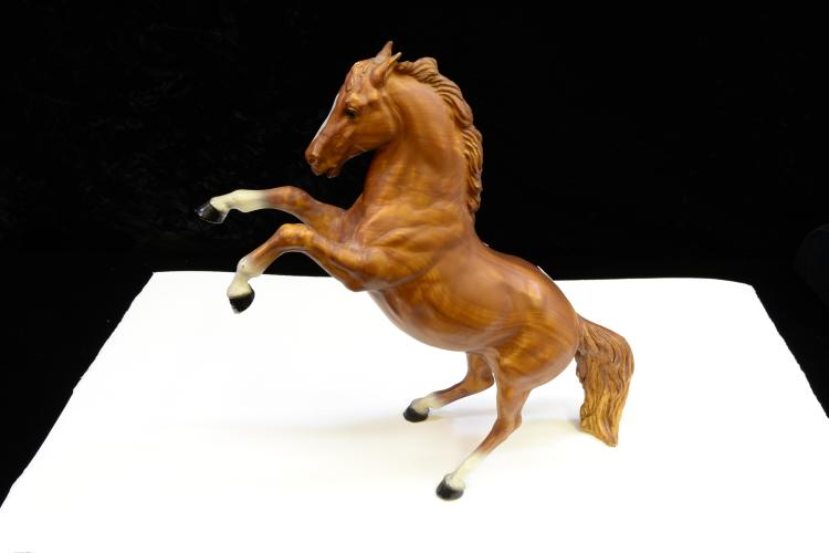 Vintage Breyer Molding Co King The Fighting Stallion Wood Grain Finish Toy Horse