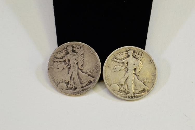 Lot Of 2 1921 And 1935 Walking Liberty U.S. Silver Half Dollar Coins