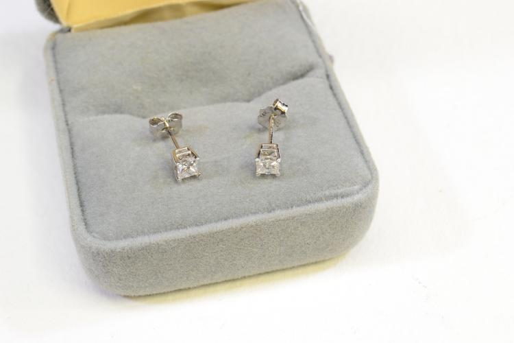 14 Karat White Gold And Diamond Stud Post Earrings