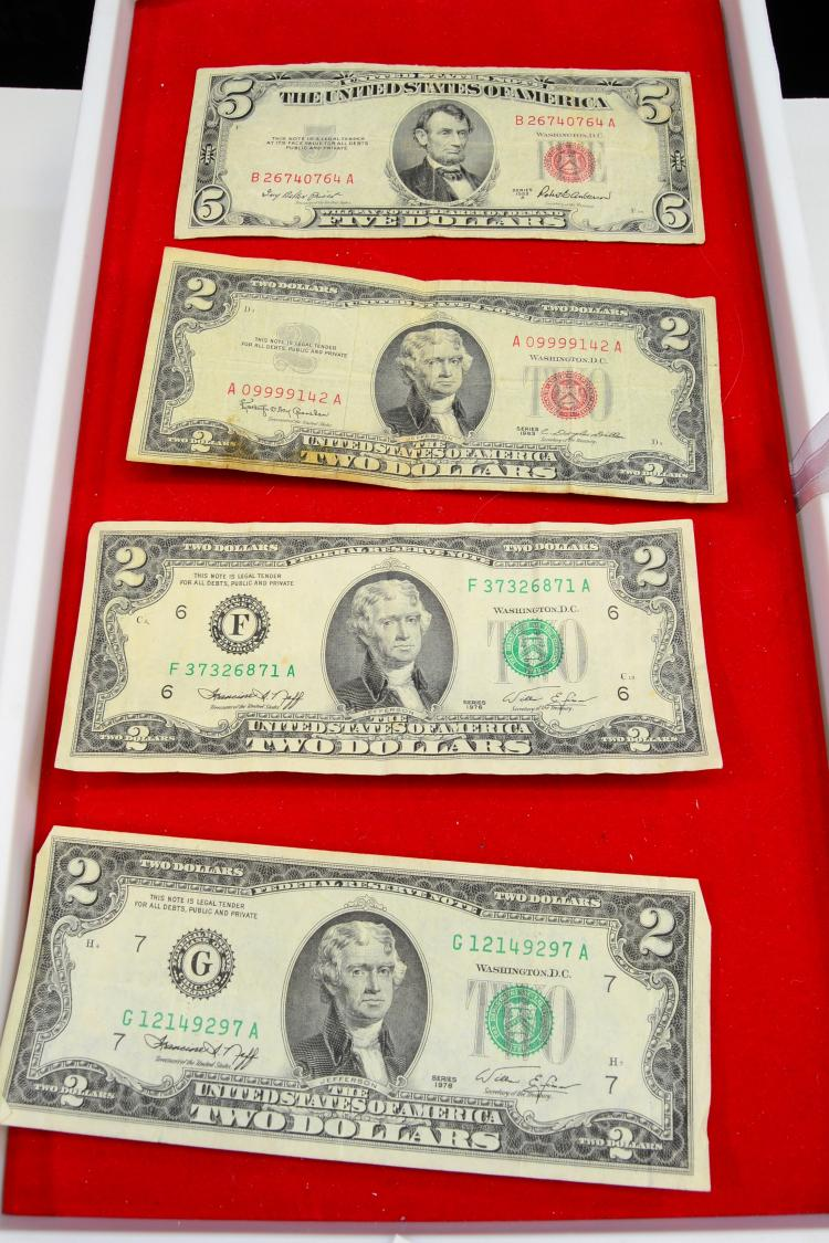 Lot Of 4 2 And 5 U.S. Dollar Bills
