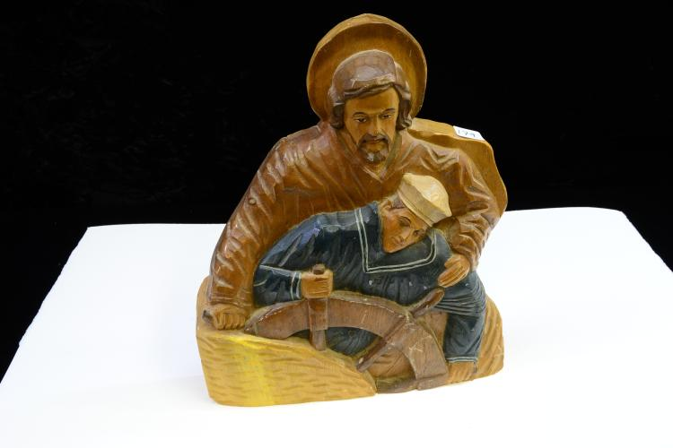 Vintage St.Anthonys Carvings Hand Carved Wood Folk Art Jesus Sailor Sculpture