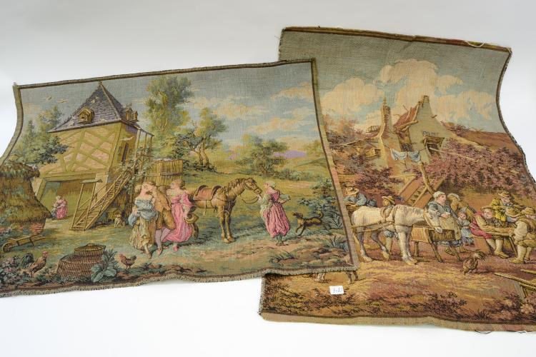 Lot Of 2 English Country Scene Tapestries