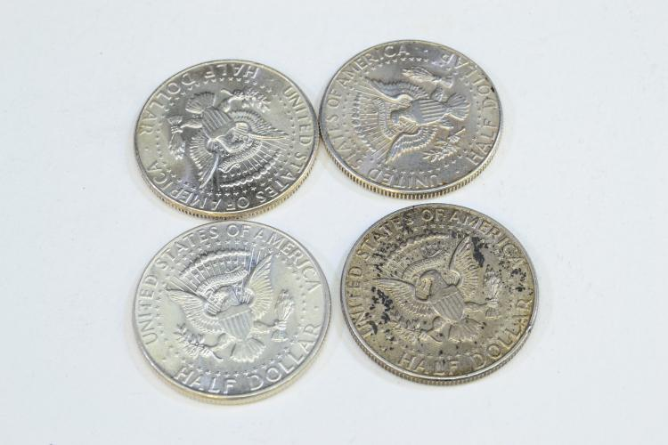 Lot 187: Lot Of 4 1964 Kennedy Half Dollar Us Silver Coins