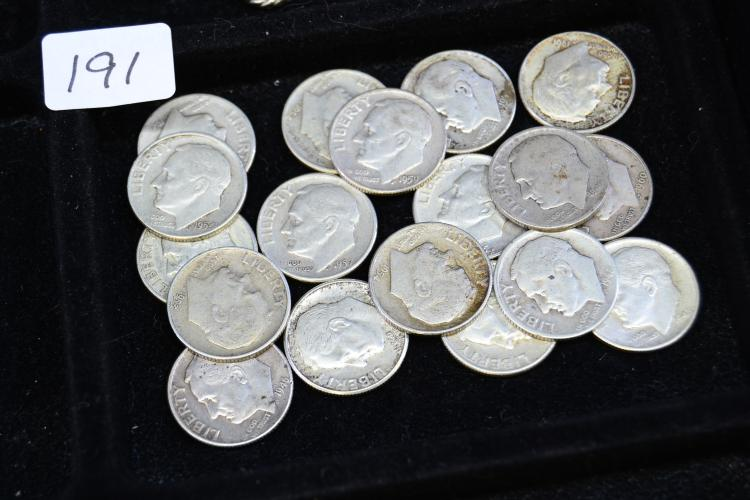 Lot Of 18 Silver Roosevelt Dimes