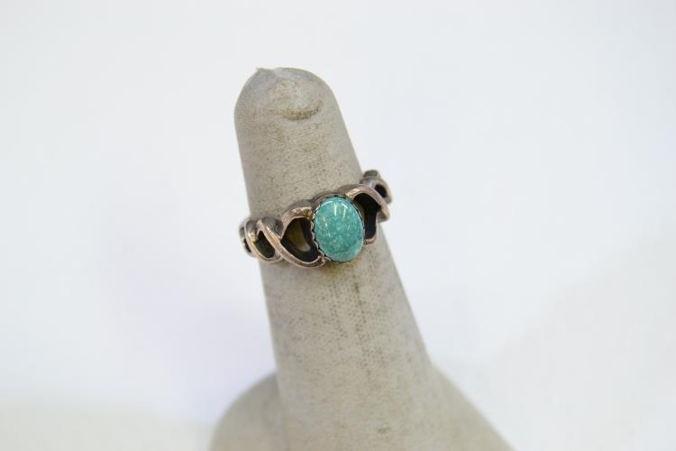 Sterling Silver And Turquoise Ring Signed Prairie Fire Size 4.75