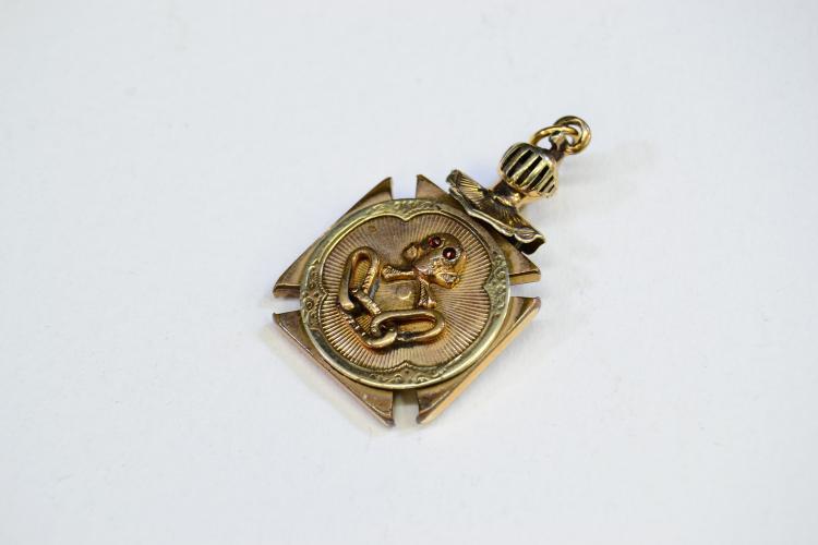 Lot 193: Antique Odd Fellows Skull Crossbones All Seeing Eye Knight'S Helmet Gold Filled Watch Fob