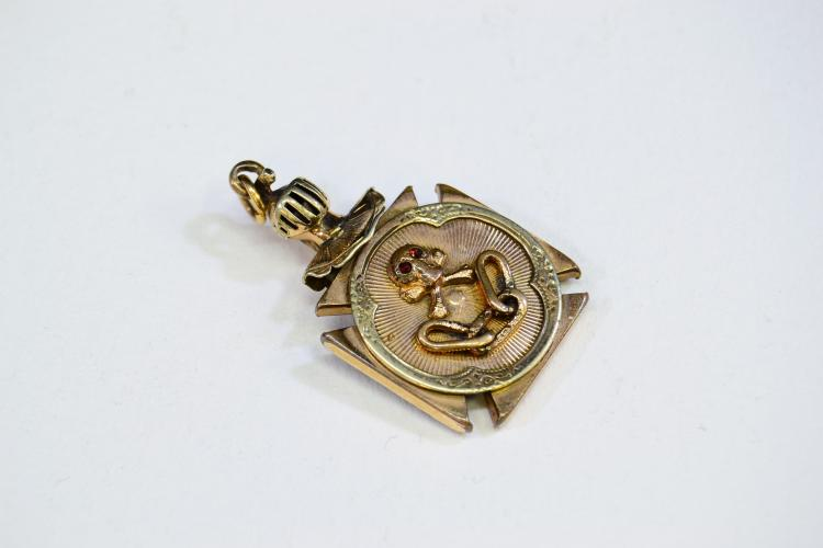 Antique Odd Fellows Skull Crossbones All Seeing Eye Knight'S Helmet Gold Filled Watch Fob
