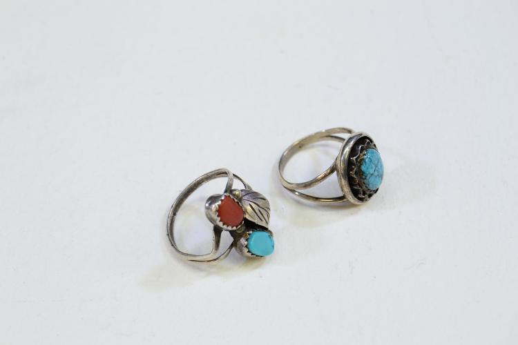 Lot 194: Lot Of 2 Sterling Silver Turquoise And Coral Rings Size 4