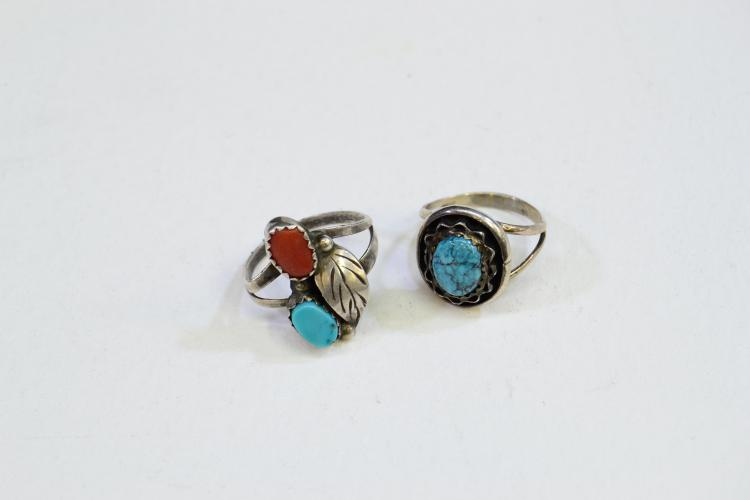Lot Of 2 Sterling Silver Turquoise And Coral Rings Size 4