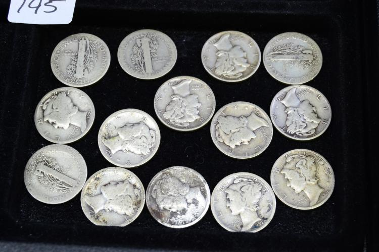 Lot Of 14 Silver Mercury Dimes