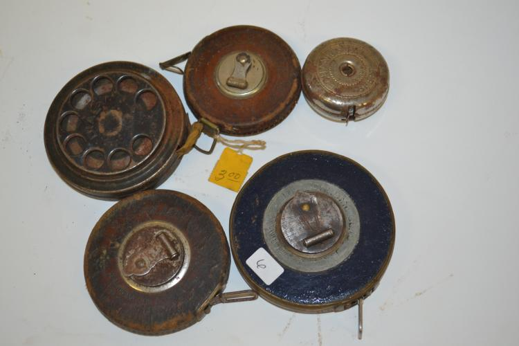 Lot Of 5 Antique Reel Tape Measures Including Lufkin