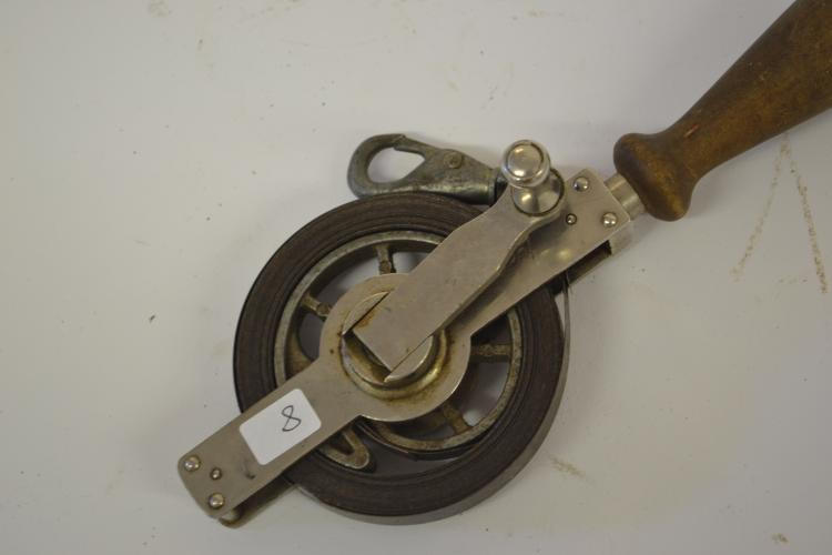 Lot 8: Antique Lufkin Hand Crank Metal Wood Handle Tape Measure