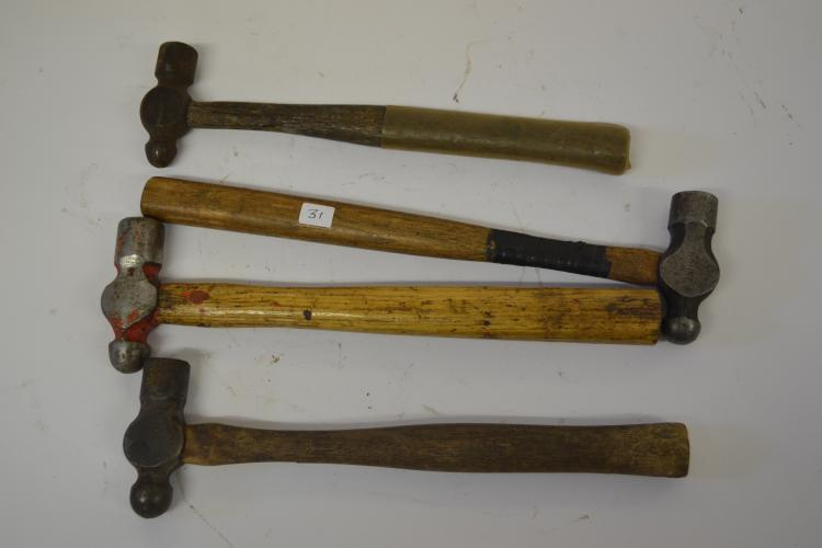 Lot Of 4 Vintage And Antique Ball-Peen Hammers Including Williams Blue Point Bonney