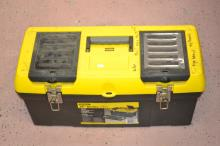 Lot 38: 24 Inch Series 2000 Stanley Toolbox With Hammers Saws Wood Files & More