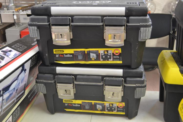 Lot 40: Black 22-Inch Structural Foam Toolbox With Dikes Hammers Crescent Wrenches And More