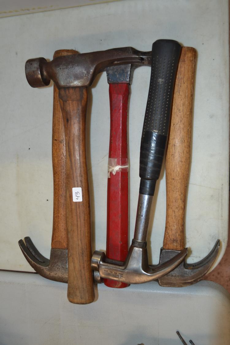 Lot Of 5 Antique Hammers Including The Pros Hammer Evansville Framer Wizard