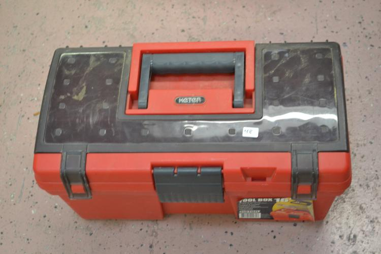 Lot 48: Keter 16 Inch Tool Box With Screwdrivers Punches Pliers & File