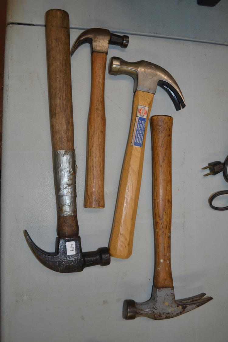 Lot Of 4 Antique Hammers Including Millers Falls Bluegrass Briar Edge & Lakeside