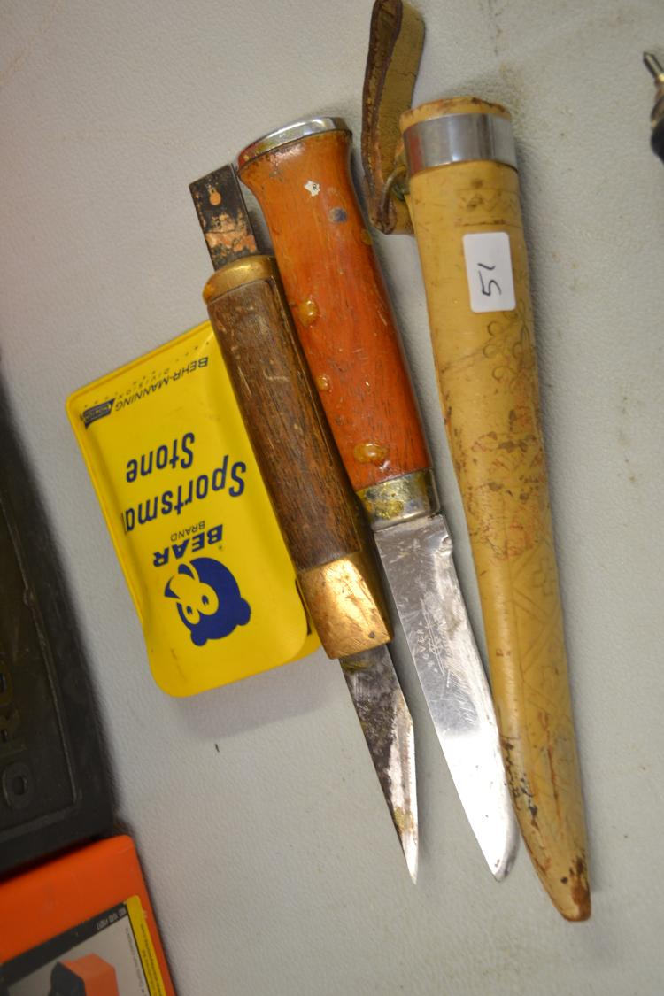 Lot 51: Vintage Kc Rustfri Rover Fishing Knife With Bear Sportsman Stone & Cutting Tool