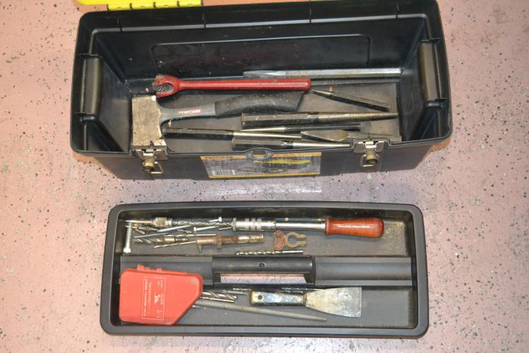 Stanley 24 Inch Tool Box With Craftsman Hatchet Punches Chisels & Drill Bits
