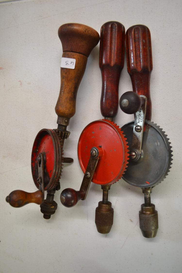Lot Of 3 Antique Hand Crank Millers Falls Hand Drills