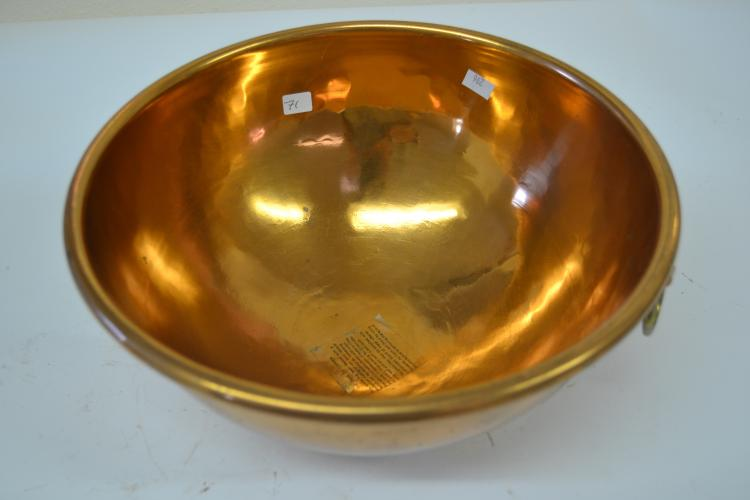 Vintage Helvetia Copperware Made In England Large Heavy Mixing Bowl