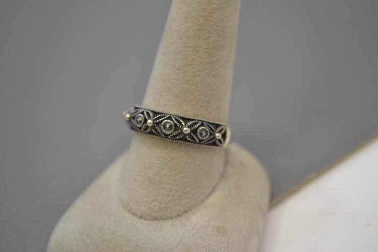 Lot 74: Vintage Sterling Silver And Marcasite Fashion Ring Size 10