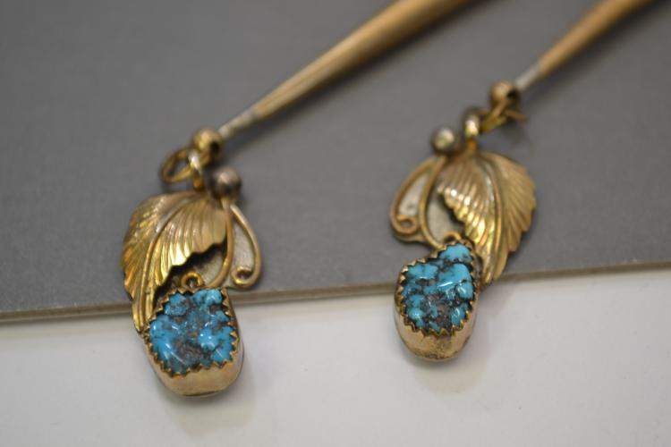 Pair Of Vintage Gold Washed Sterling And Turquoise Bolo Tie Finals