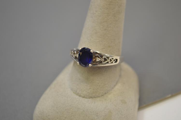 Lot 80: Vintage Sterling Silver Blue Sapphire And Diamond Chip Fashion Ring Size 10