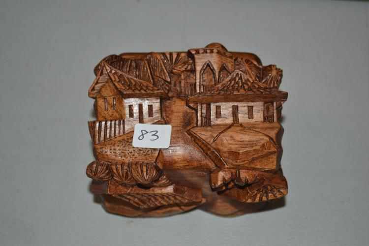 Very Nice Carved Wood Teak 3D Village Trinket Box