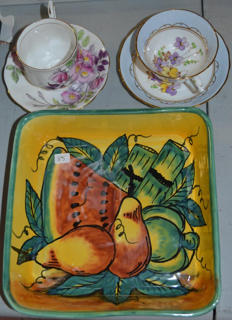 Vintage Lot Of Fruit Serving Tray And Two Vintage Tuscan English Tea Cups And Saucers