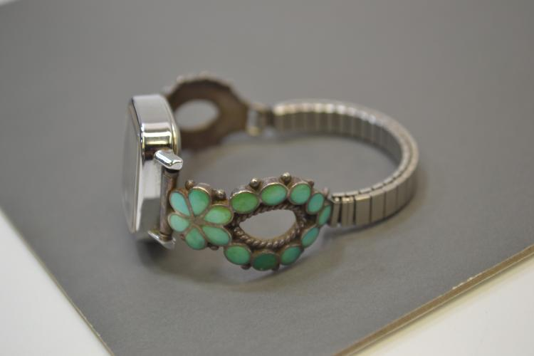 Lot 89: Vintage Zuni Sterling Silver Turquoise Inlaid Watch Tips With Timex Watch Signed Mas