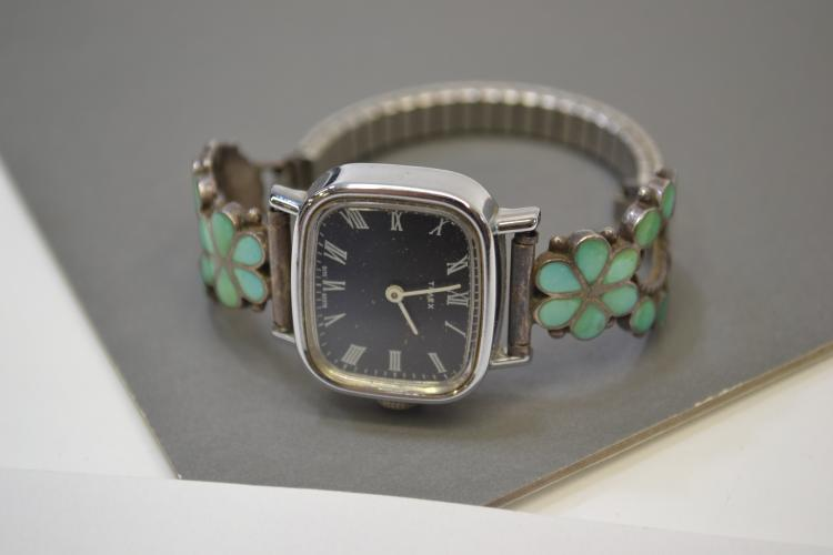 Vintage Zuni Sterling Silver Turquoise Inlaid Watch Tips With Timex Watch Signed Mas