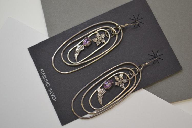 Vintage Navajo Sterling Silver Amethyst Hoop Dangle Earrings