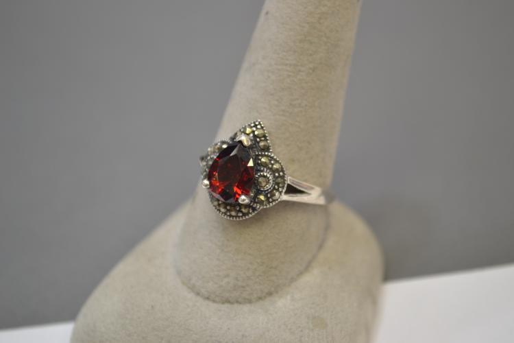 Vintage Sterling Silver And Red Cz Marcasite Ring Size 9.5