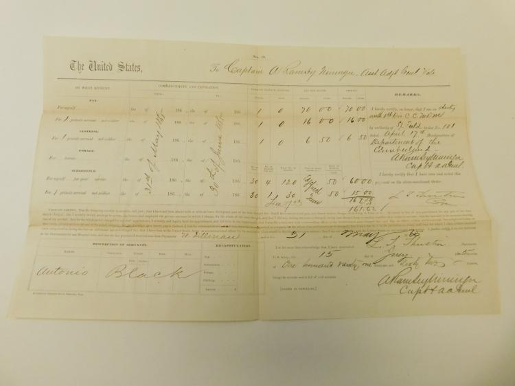 Original Civil War Document For An Officer And His Black Servant Named Antonio