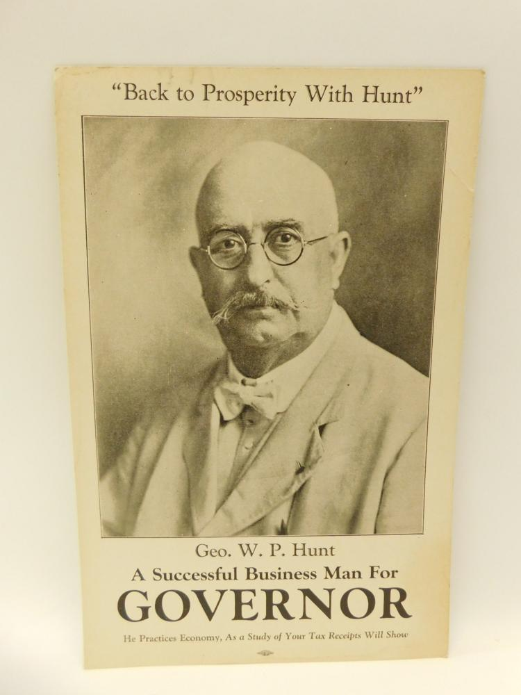 Antique Union Label Geo Wp Hunt Businessman For Governor Political Poster