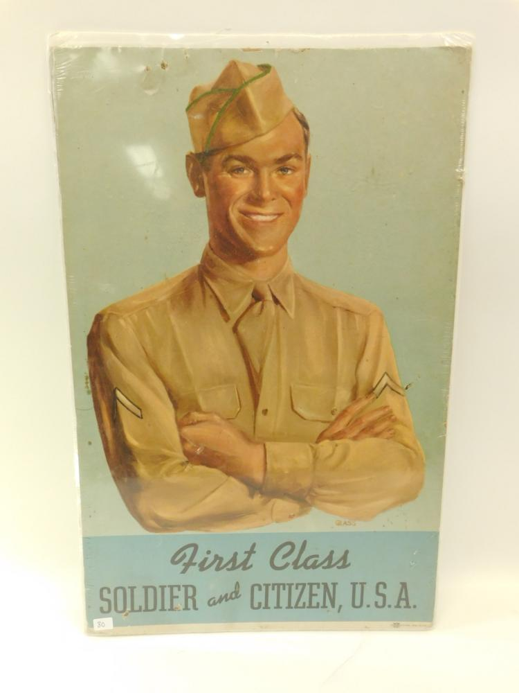 1947 Recruiting Publicity Bureau Us Army P-224 First Class Soldier & Citizen Poster By Glass