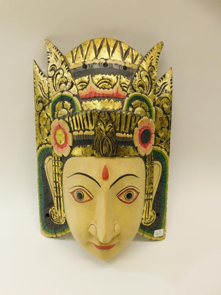 Vintage Original Handcrafted Wood Carving Indonesian Deity Mask