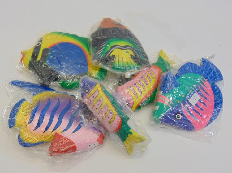 Handcrafted Carved Wood Indonesian Fish Lot Of 6