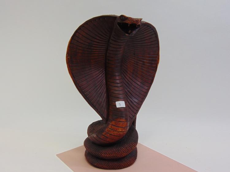 Handcrafted Carved Wood Hooded Cobra Figurine