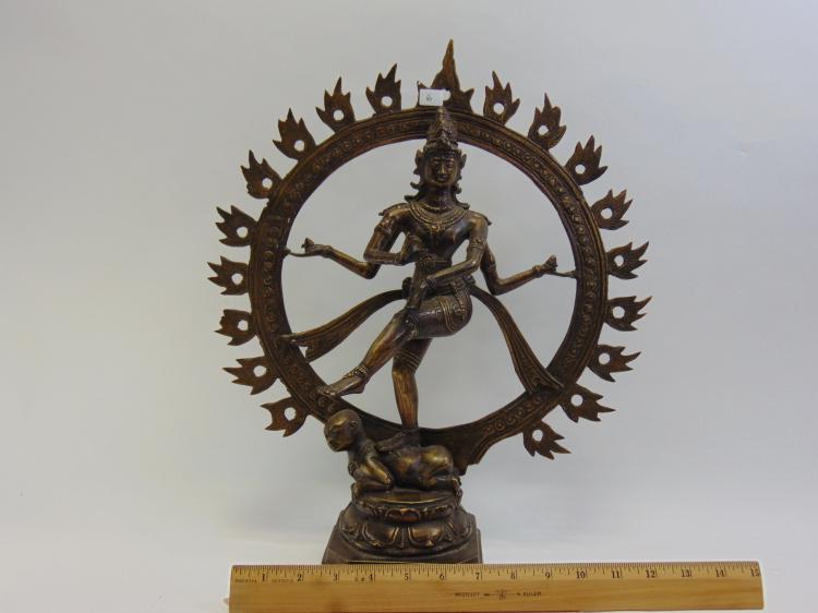 Lot 6: Vintage Hollow Bronze Dancing Shiva Natraj Statuette