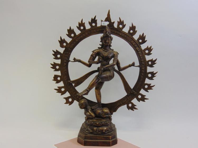 Vintage Hollow Bronze Dancing Shiva Natraj Statuette