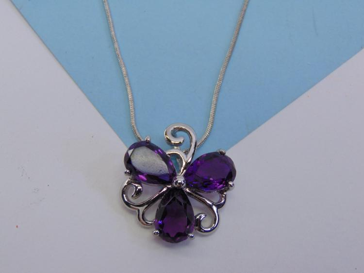 Silvertone Amethyst Pendant Necklace