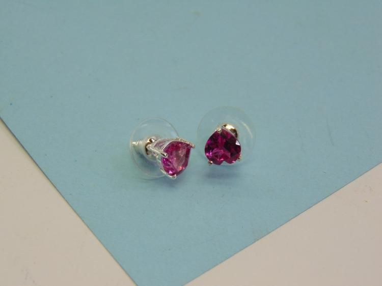 Lot 11: Sterling Synthetic Pink Sapphire Post Earrings